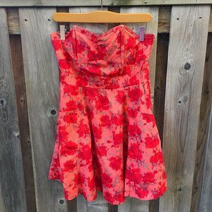 H&M coral summer floral strapless dress - size 8